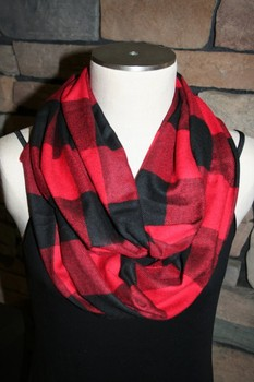 Buffalo Plaid Infinity Scarf Cashmere Black and White Plaid Scarf Red and Black Lumberjack Check Mens Scarf Womens Accessories