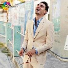 Khali Men Suits Wedding Slim Fit Groom Blazer Tuxedos 2 Pieces (Jacket+Pants) Bridegroom Suits Best Man Prom Wear beige slim fit wedding suits groom tuxedos 2 pieces jacket pants bridegroom men suits best man blazer prom wear