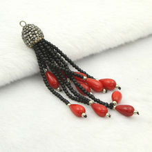 Red Coral Waterdrop Tassels Pendant Clear Hematite Rhinestone Embellish Charms Jewelry Accessories For Making Necklace Earrings
