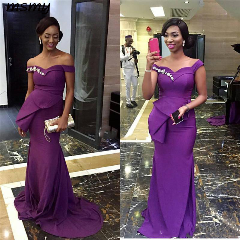 Charming African Mermaid Purple Evening Dresses Long 2019 Sequined Off The Shoulder Special Occasion Gowns Customized