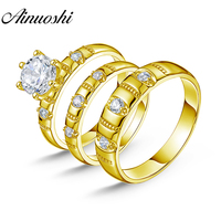 AINUOSHI 14K Solid Yellow Gold TRIO Couple Rings Set Vintage SONA Diamond Wedding Male Band 6 Claws Engagement Bridal Rings Set
