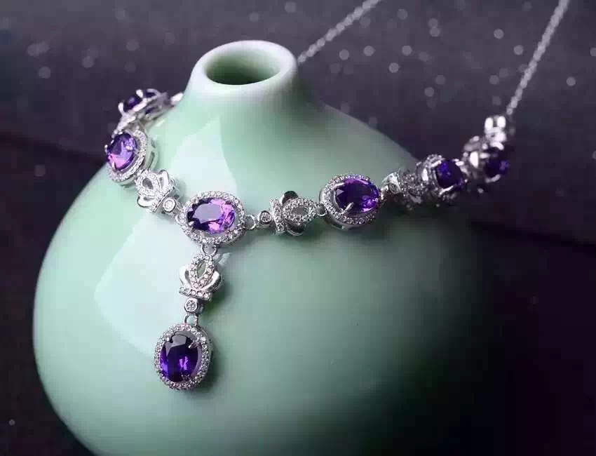 Natural Amethyst Necklace Natural Crystal Pendant Necklace