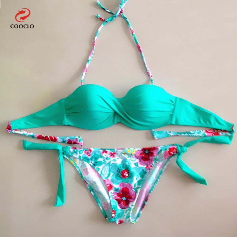 2017 Sexy Summer Floral Brazilian Criss Cross Push Up Bikini Bandeau Top Biquini Swimsuit Bathing Suit For Women Girl Swimwear criss cross lace bandeau tube top