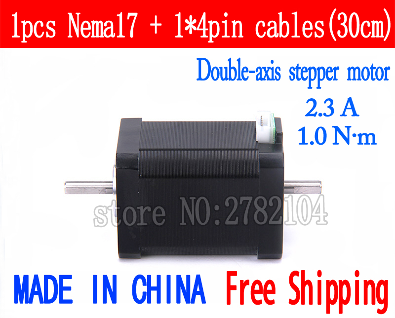Free shipping 1pc Double axis 17(42HB4) 4-lead Nema 17 Stepper Motor 42 motor 2.3A CNC Laser and 3D printer