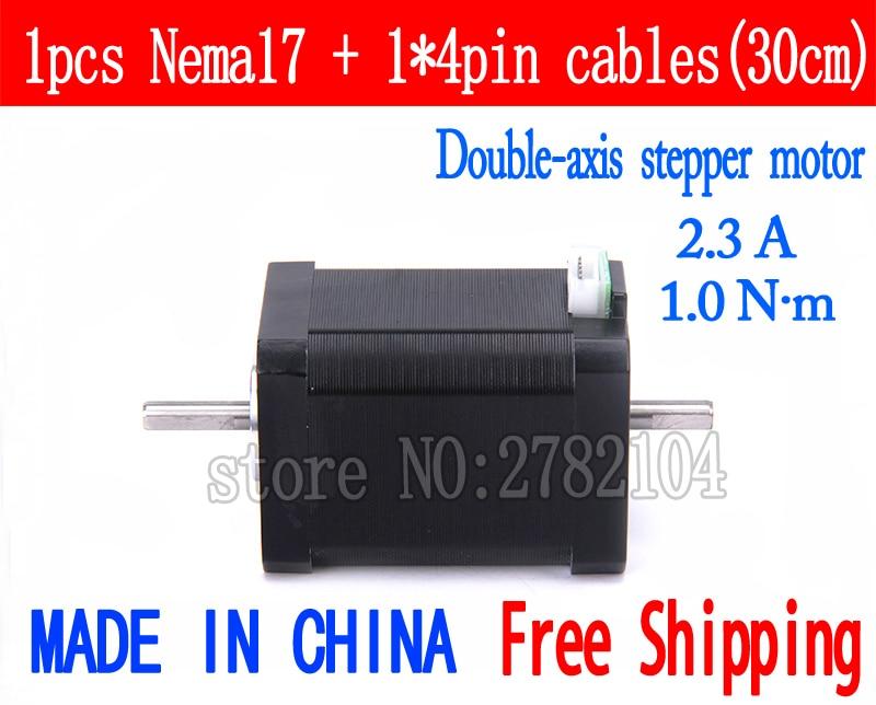 Livraison gratuite 1 pc Double axe 17 (42HB4) 4 fils Nema 17 moteur pas à pas 42 moteur 2.3A CNC Laser et imprimante 3D