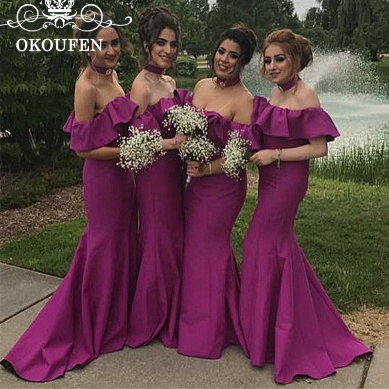 OKOUFEN Fashion Purple Mermaid   Bridesmaid     Dresses   Long Ruffles Off Shoulder 2018 Customize Prom   Dress   Maid Of Honor For Women