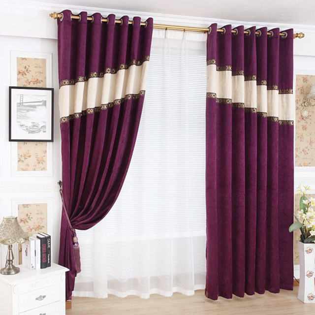 Modern Minimalist Curtain Shenil Stitching Curtains Living Room / Bedroom / Curtains  Red Curtains Shade Curtains