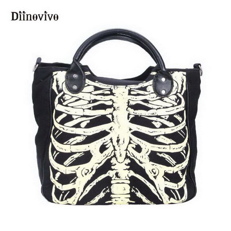 DIINOVIVO Luminous Gothic Skeleton Bones Skulls Bags Rock Designer Female Casual Totes Women Punk Bags Fashion Handbag WHDV0244 ...