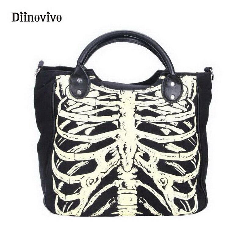 DIINOVIVO Luminous Gothic Skeleton Bones Skulls Bags Rock Designer Female Casual Totes Women Punk Bags Fashion Handbag WHDV0244