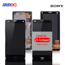 Screen For Sony Xperia Z3 Compact LCD Touch Display D5803 D5833 Digitizer + Frame for Sony z3 mini Screen Replacement + Adhesive white touch screen lcd display for sony xperia z3 mini compact d5803 d5833 digitizer assembly bezel frame tools free shipping