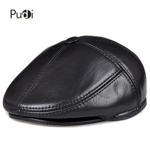 Image 1 - HL093 F genuine leather men berets cap hat CBD high quality fashion mens real leather baseball caps winter warm hats