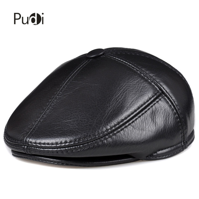 HL093 F genuine leather men berets cap hat CBD high quality fashion mens real leather baseball caps winter warm hats