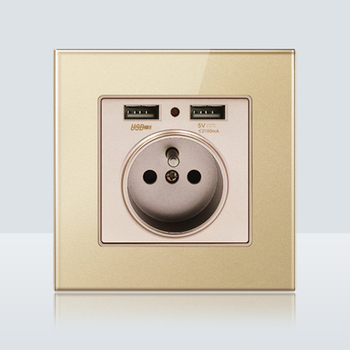 with USB Champagne Gold 1 2 3 4 Gang 1 Way 2 Way Glass Mirror Switch 86 type Wall Switch France Germany UK socket Household 21