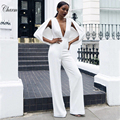 2016 new fashion women deep v boot cut jumpusts full length sexy knitted party elegant white jumpsuit wholesale