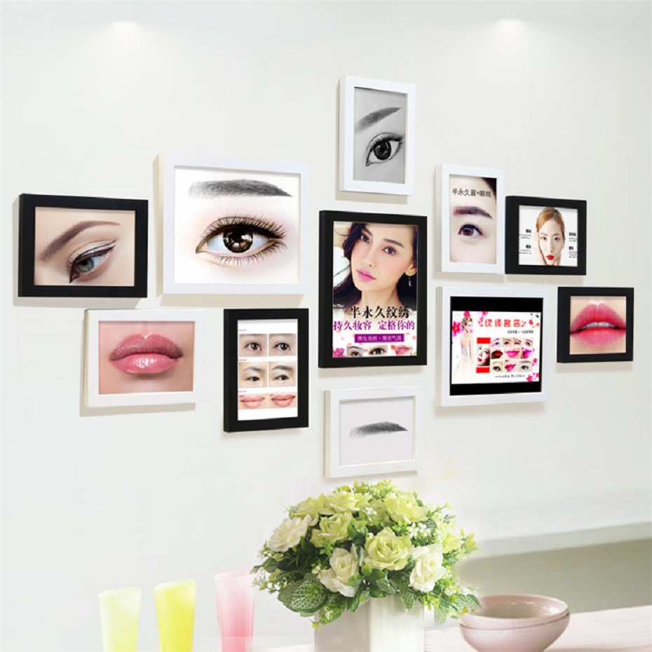 11 Pieces Wooden Photo Frame Combination Kids Pictures Frame Birthday Gifts Hanging Wood Wall Art Paintings