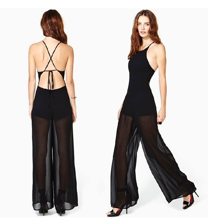 0e747704ee7a Women Jumpsuit Elegant See Through Long Pants Black Lace Sexy Chiffon  Rompers Ladies Sleeveless Fashion Evening Jumpsuits