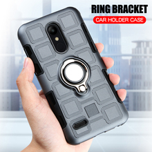 hot deal buy luxury case for lg k10 2018 silicone armor shockproof cover for lg k10 2018 finger ring stand phone case for lg k10 2018 fundas