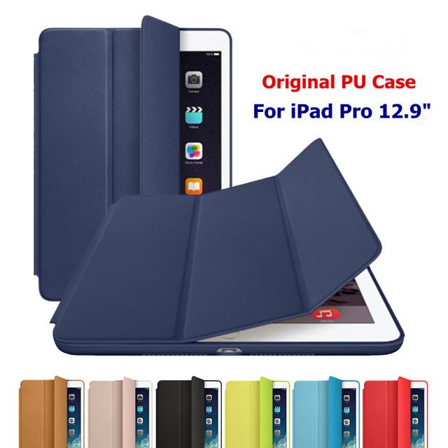 """Ultra delgado cubierta para el iPad de Apple Pro inteligente estela del sueño caso Fundas para iPadpro 12.9 """" Retina Original de la tableta de cuero del soporte de los casos"""