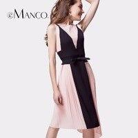 E Manco 2017 Fashion Pink And Black Irregular Hem Dresses Sweetheart Chiffon Long Formal Women Evening