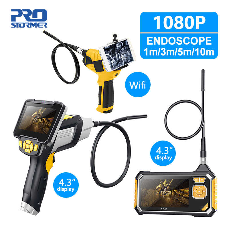 PROSTORMER 4.3 inch Industrial Endoscope 1080P Inspection Camera for Auto Repair Tool Snake Hard Handheld Wifi Endoscope Android
