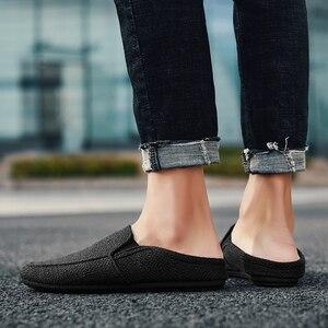 Image 5 - Homens sapatos de lona mocassins apartamentos masculino sapatos de linho tênis casuais moda deslizamento ons leve respirável coreano
