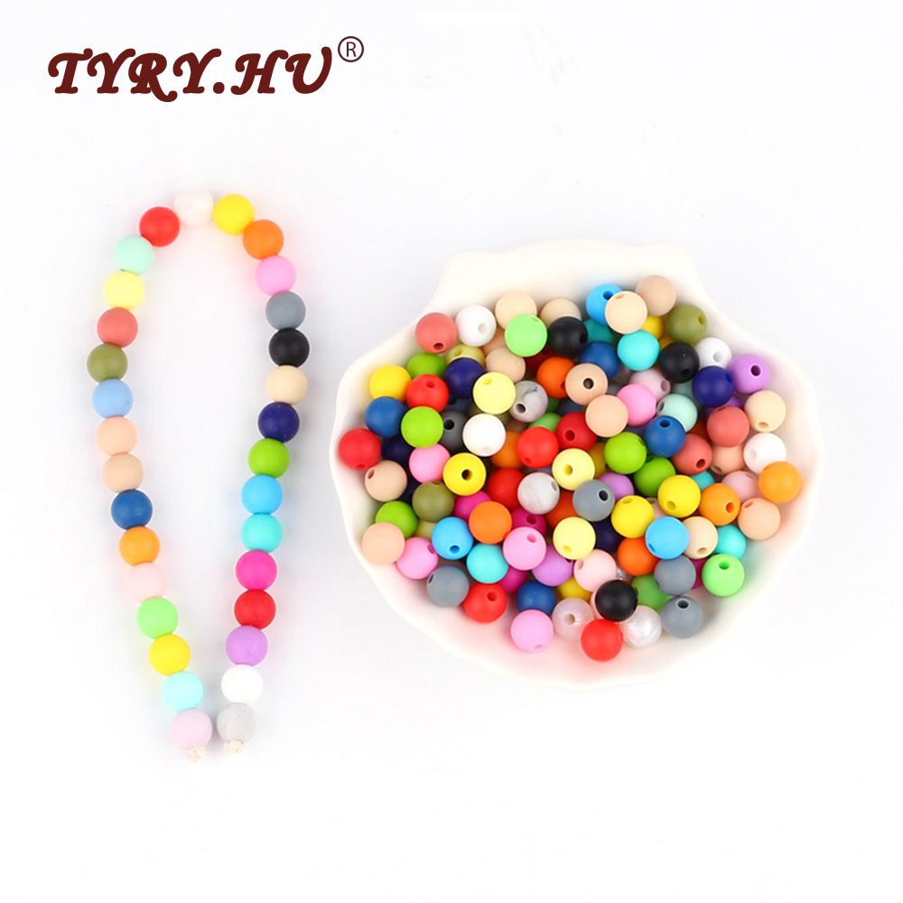 TYRY.HU 10Pcs Silicone Beads Round 9mm Baby Teething Beads Food Grade Baby Teethers BPA Free For Baby Tooth Care Necklace Making