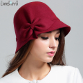 New Fashion Basin Hat Lady Felt Trilby Fisherman Cap Women Winter Wool Felt Dome Cap  New Tide Fashion Hat B-4864