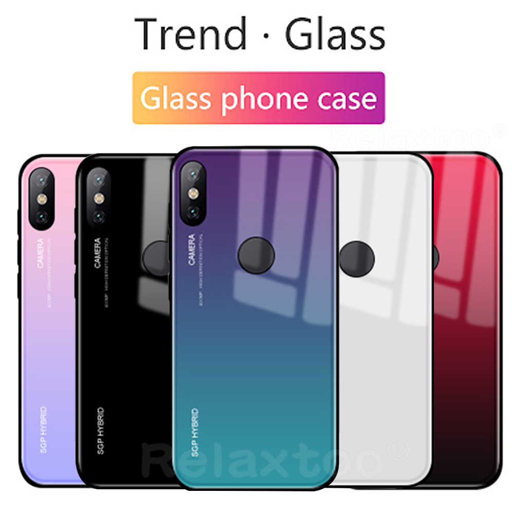 Luxury Gradient glass Cover For xiaomi mi a2 a1 8 se mix mix 2s 2 note 3 case for xiaomi redmi 6 pro 6a 5 plus note 5a s2 Coque