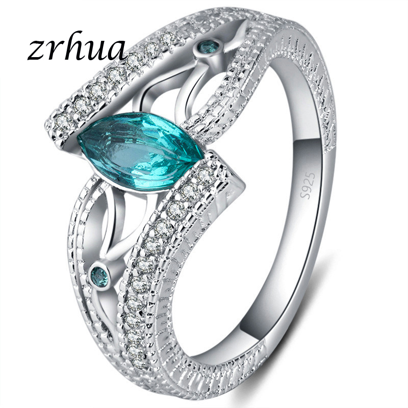 ZRHUA Ladies 925 Sterling Silver Finger Rings For Women Vintage Engagment Anillos Blue/Red/Green AAA Zircon Jewelry Girls Anel(China)