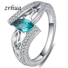 998f66b650ac ZRHUA damas de dedo de Plata de Ley 925 Anillos para las mujeres Vintage  aniversario Anillos con piedras azul rojo Verde AAA joy.