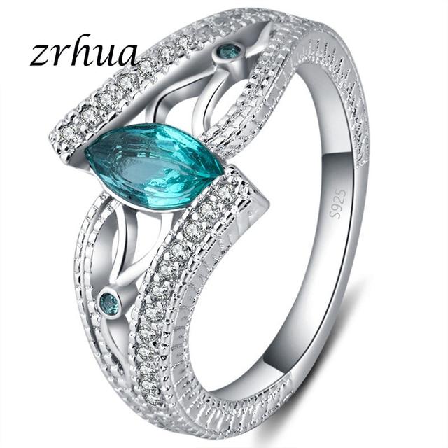 ZRHUA Senhoras 925 Prata Esterlina Anéis de Dedo para Mulheres Engagment Vintage Anillos Azul/Vermelho/Verde AAA Zircon Jóias meninas Anel