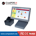 high quality 15 inch all in one pos pc restaurant casher register with 80mm thermal receipt printer