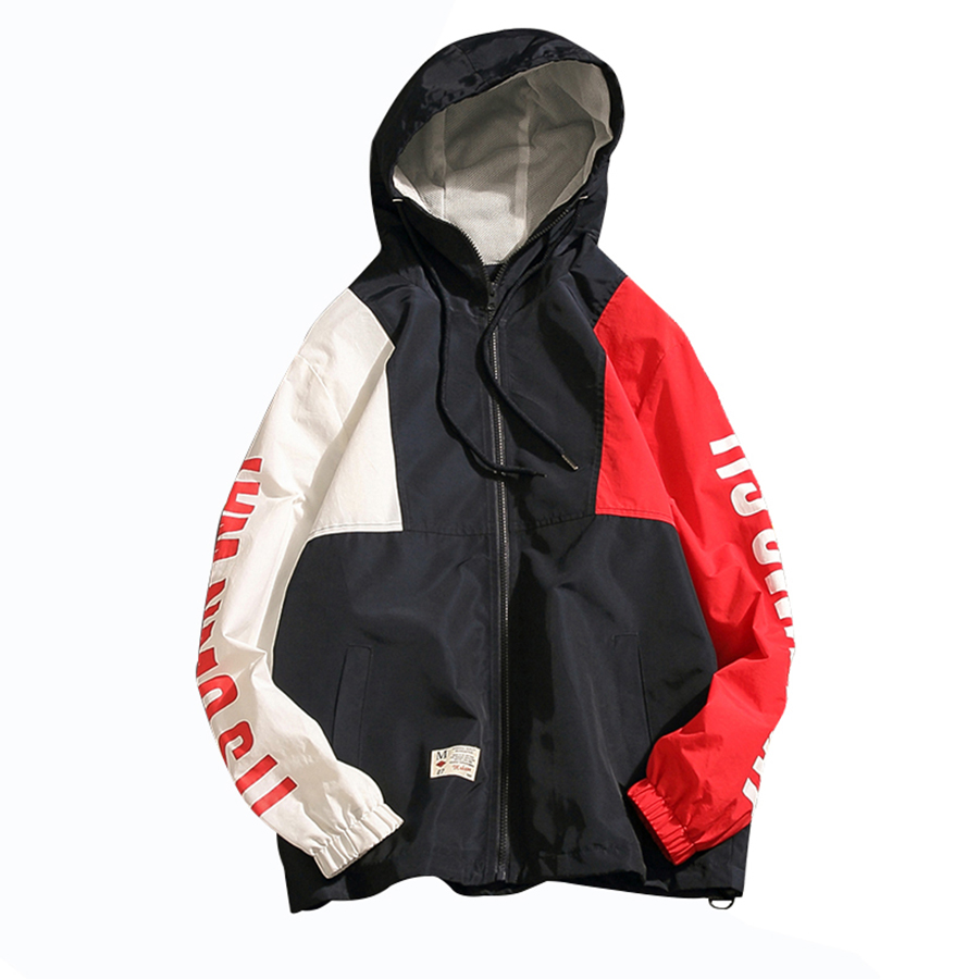 Hooded Stitching Jacket Men Casual European Street Wear Mens Jackets Hip Hop Patchwork Wind Breaker Men Coat Big Size Jk6011