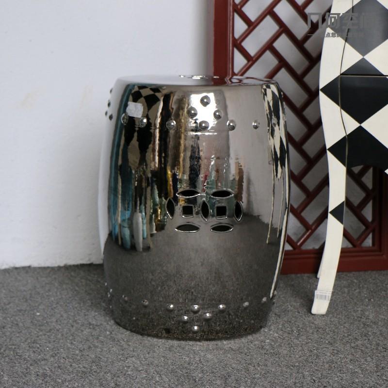 цзиндэчжэнь высокая температура уволен серебро застеклила керамической сад стул барабан