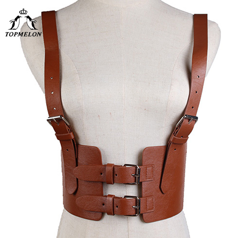 TOPMELON 2018 Wide Waist Belt Women's Leather Harness Belt Tight Street Strap Fashion Adjustable Metal Buckles Belts Solid