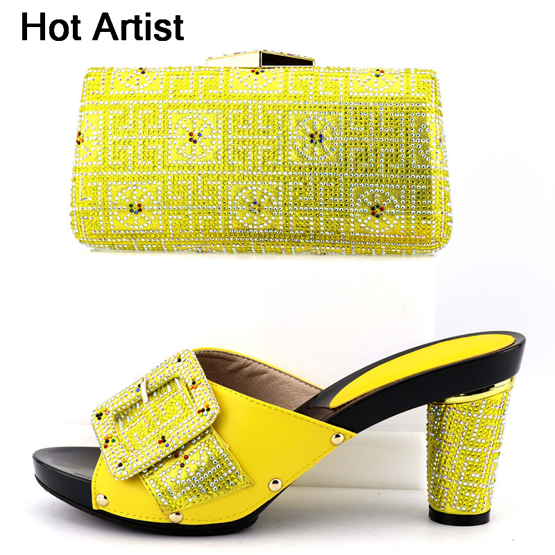 Hot Artist New African Rhinestone Pumps Shoes And Bag Set For Party Dress Itlian Woman High Heels Shoes And Bag Set Size 37-43 hot artist new arrival italian style rhinestone woman shoes and bag set african high heels shoes and bag purse for party dress