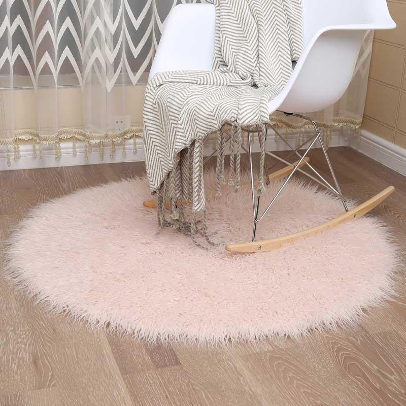 MUZZI Round Faux Fur Rug Wool Beach Carpet Living Room