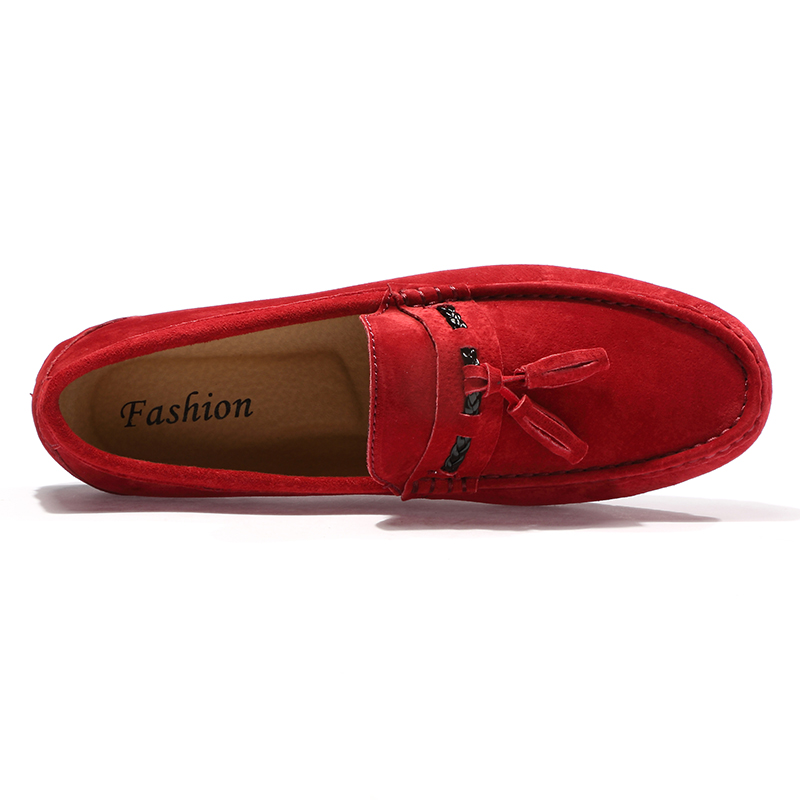2018 Mocassins En Sur Chaussures Décontracté Avec De Slip Cuir Black Daim Hommes khaki gray red Gland Clip Modelage rvfxBrw
