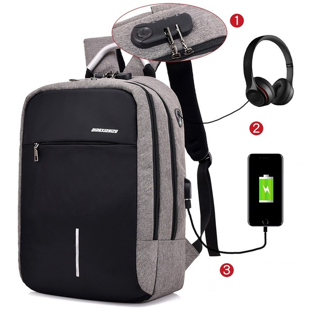 Anti theft Backpack with Password Lock Bagpack Computer Laptop USB Charging Backpacks  School Bag Pack Adult 66bbdc86801c0