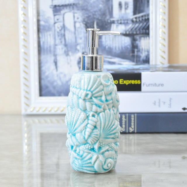 Creative Starfish Shell Ceramic Emulsion Hand Soap Bottle Bathroom  Accessories Wedding Home Decor Handicraft Porcelain Figurine