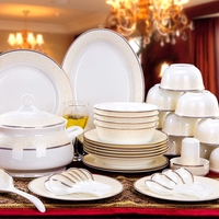 Fashion Dishes Set 56 Pieces Porcelain Tableware Sets Dishes Korean Ceramic Dinnerware Sets Gifts Household Dinnerware Utensils