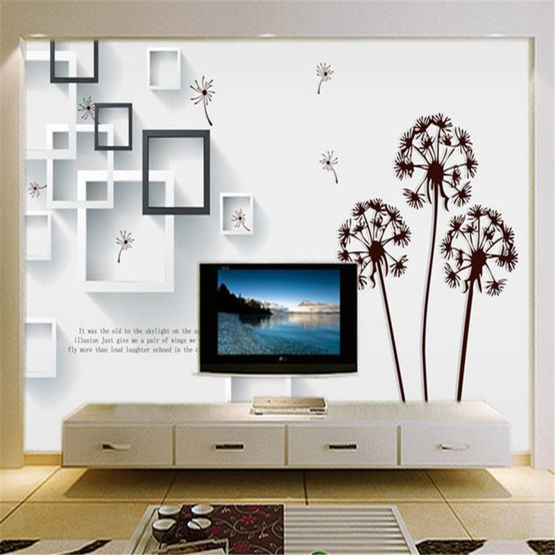 Custom 3D Stereoscopic Murals Dandelion Frame Photo Tree Wallpapers for Living Room Walls Papers Abstract Painting Home Decor