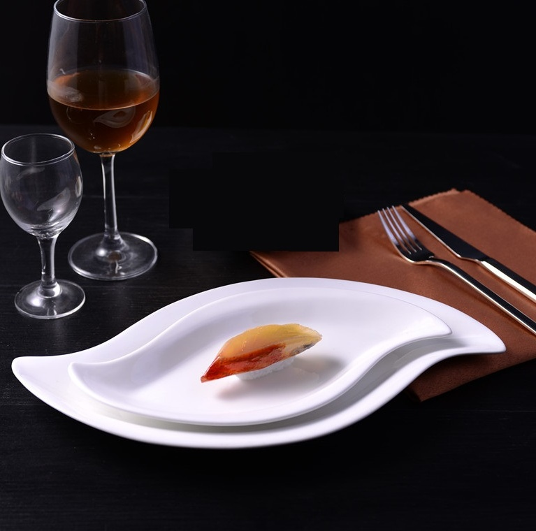 2pcs Ceramic Irregular Shape Serving Dish Set Decorative Porcelain Dinner Plate Dinnerware for