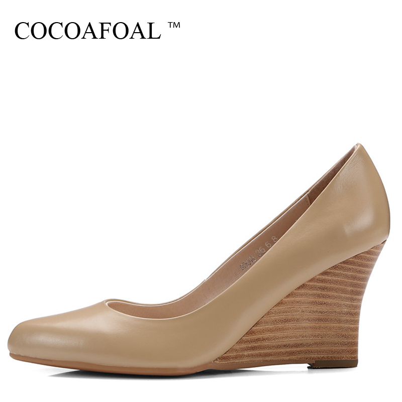 COCOAFOAL Woman Wedge Shoes Fashion Sexy Stiletto Pointed Toe Pumps Apricot Black Genuine Leather Ultra High Heels Shoes 2018COCOAFOAL Woman Wedge Shoes Fashion Sexy Stiletto Pointed Toe Pumps Apricot Black Genuine Leather Ultra High Heels Shoes 2018