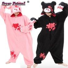 HKSNG взрослых хмурый Медведь пижамы розовый черный медведь кигуруми комбинезоны флис животных женщин Хэллоуин вечерние костюм жирафа Пижама Kig