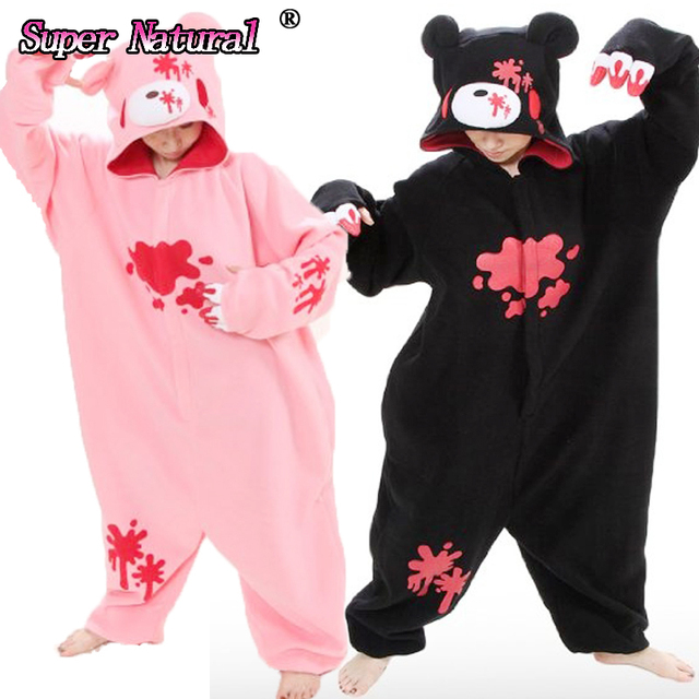 390b395a65aa HKSNG Big On Sale High Quality Black Pink Gloomy Blood Bear Fleece Animal  Women Onesies Pajamas Adult Cosplay Costume Pyjamas