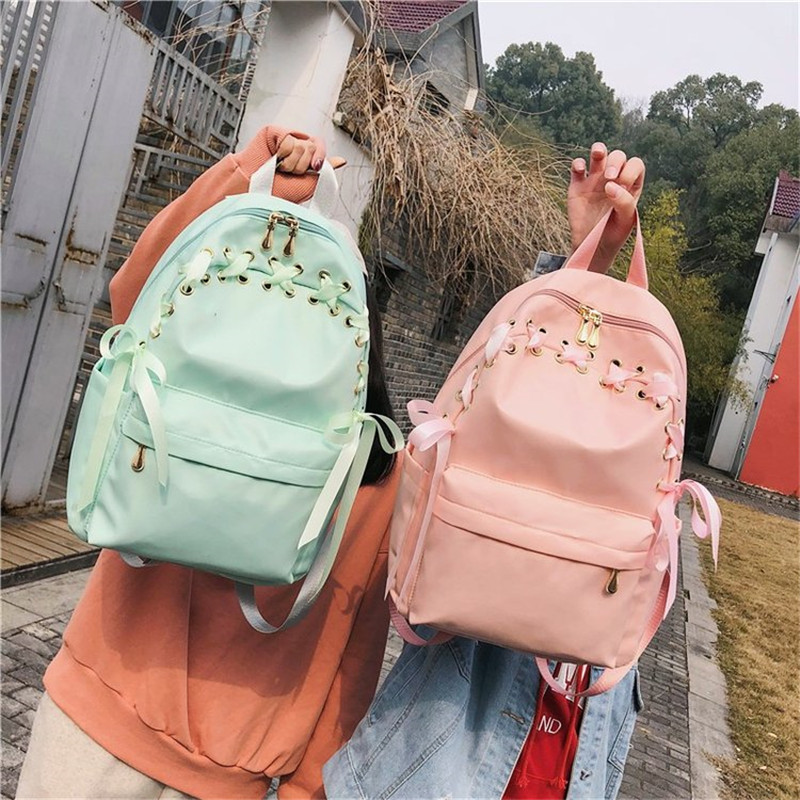 Ribbon Fresh Sweet Candy Color Pink Backpack Students Travel Shoulder Bag Pack Women Sweet Daily Backpack Girls School Bag