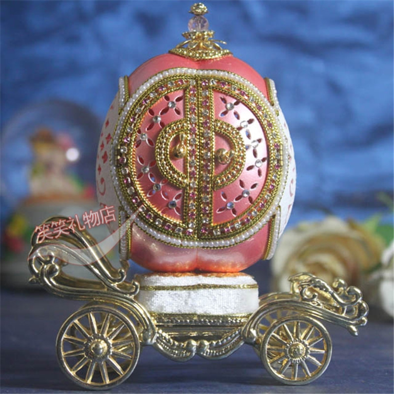 Luxury Royal Goose Egg Carving Pink Pearl Princess Music