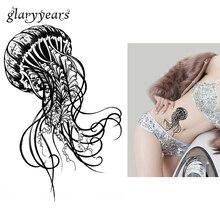 1 Sheet Temporary Tattoo Sticker KM-059 Waterproof Tattoo Ocean Jellyfish Decal For Flower Arm Body Art