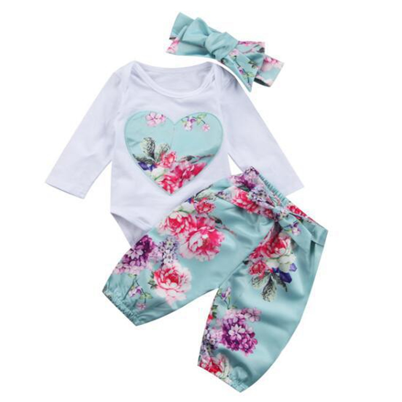 Infant Girls Kids Spring Autumn Clothes Set Newborn Cute Soft Costume Clothing Romper+Pants+Headband 3pcs Sets Roupas De Bebes 3pcs set newborn infant baby boy girl clothes 2017 summer short sleeve leopard floral romper bodysuit headband shoes outfits